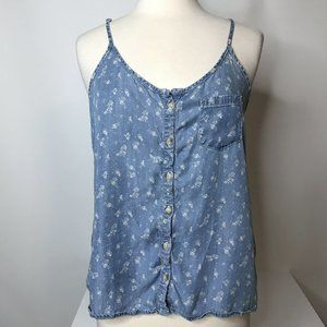 Maurices Button Front Chambray Tank Top Size M